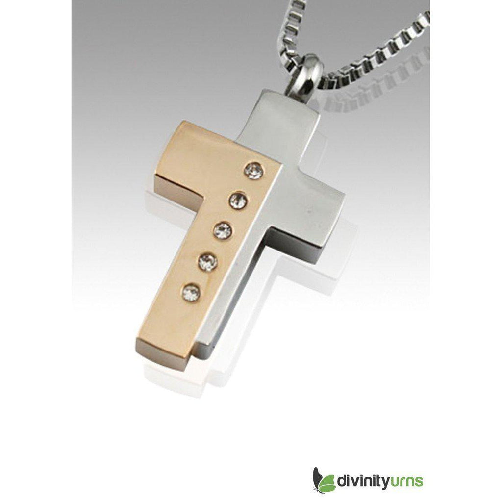 Bi-Color Cross Keepsake Cremation Pendant Jewelry, [product_type] - Divinity Urns