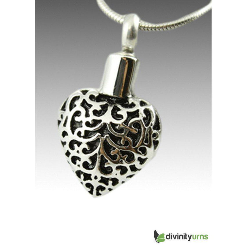 Black Art Heart Cremation Pendant Jewelry-Divinity Urns