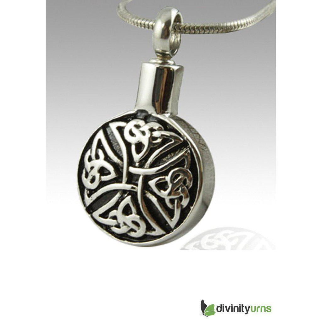 Circular Art Stainless Steel Cremation Keepsake Pendant, Jewelry - Divinity Urns