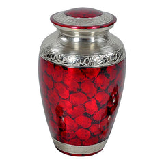 Classic Crimson Cremation Urn - Red Urn - Brass & Metal Urn For Ashes - Adult Urn | Divinity Urns
