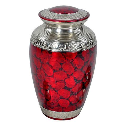 Classic Crimson Cremation Urn in Red, Brass Urn - Divinity Urns.