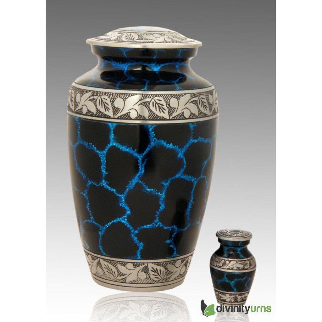 Classic Crystal Blue Cold Alloy Cremation Urn, Alloy Urns - Divinity Urns