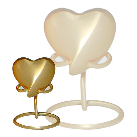 Classic Heart Keepsake Urn  For Ashes in Gold - Three Bands Heart Keepsake in Gold - Brass & Metal Heart Keepsake - Small Urn | Divinity Urns