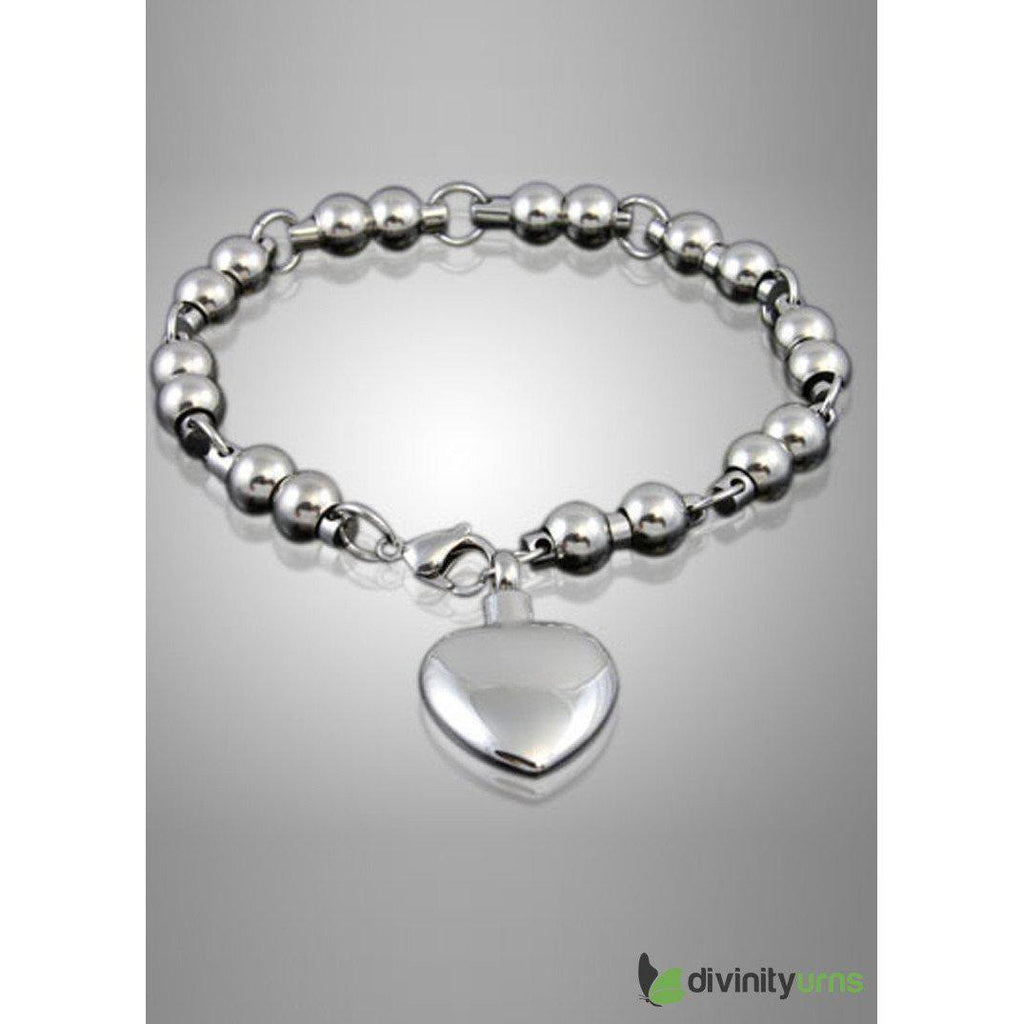 Classic Heart Stainless Steel Keepsake Bracelet Jewelry, [product_type] - Divinity Urns