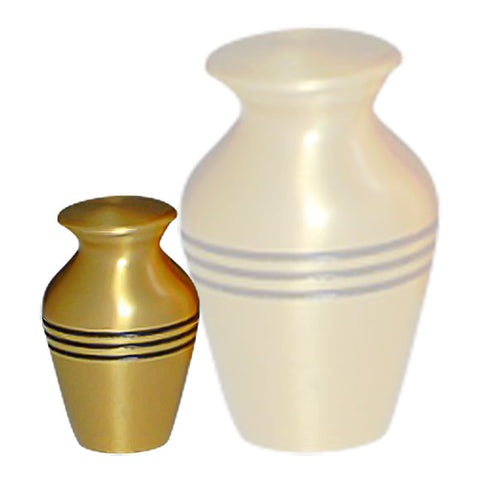 Classic Keepsake Urn in  For Ashes in Gold - Three Bands Gold Keepsake Cremation Urn - Brass & Metal Mini Keepsake Urn - Small Urn | Divinity Urns