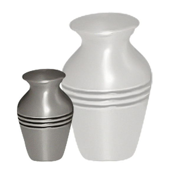 Classic Three-band Cremation Urn, Brass Urn - Divinity Urns.