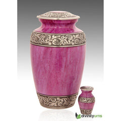 Classic Lotus Pink Alloy Cremation Urn, Alloy Urns - Divinity Urns.