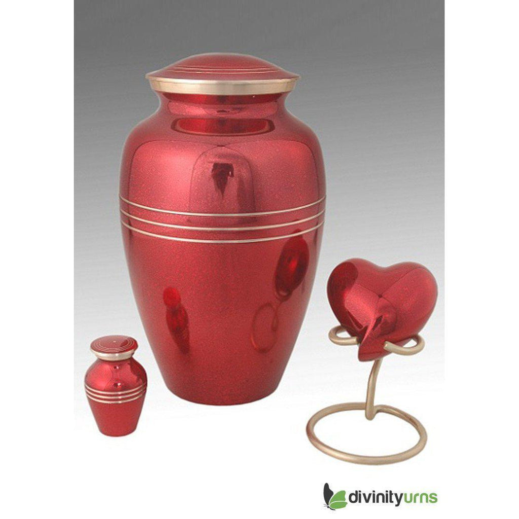 Classic Red Cremation Urn, Brass Urn - Divinity Urns