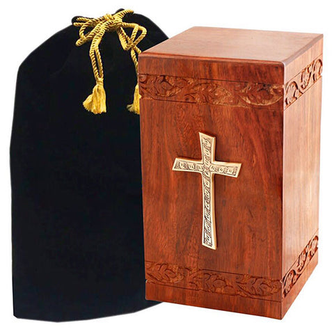Solid Rosewood Cremation Urn - Border Carved Design with Brass Cross, Urn For Human Ashes - Divinity Urns.