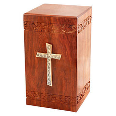 Solid Rosewood Cremation Urn - Border Carved Design with Brass Cross