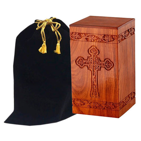 Solid Rosewood Cremation Urn with Engraved Cross, Adult Urn - Divinity Urns