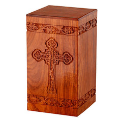 Solid Rosewood Cremation Urn with Engraved Cross, Adult Urn - Divinity Urns.
