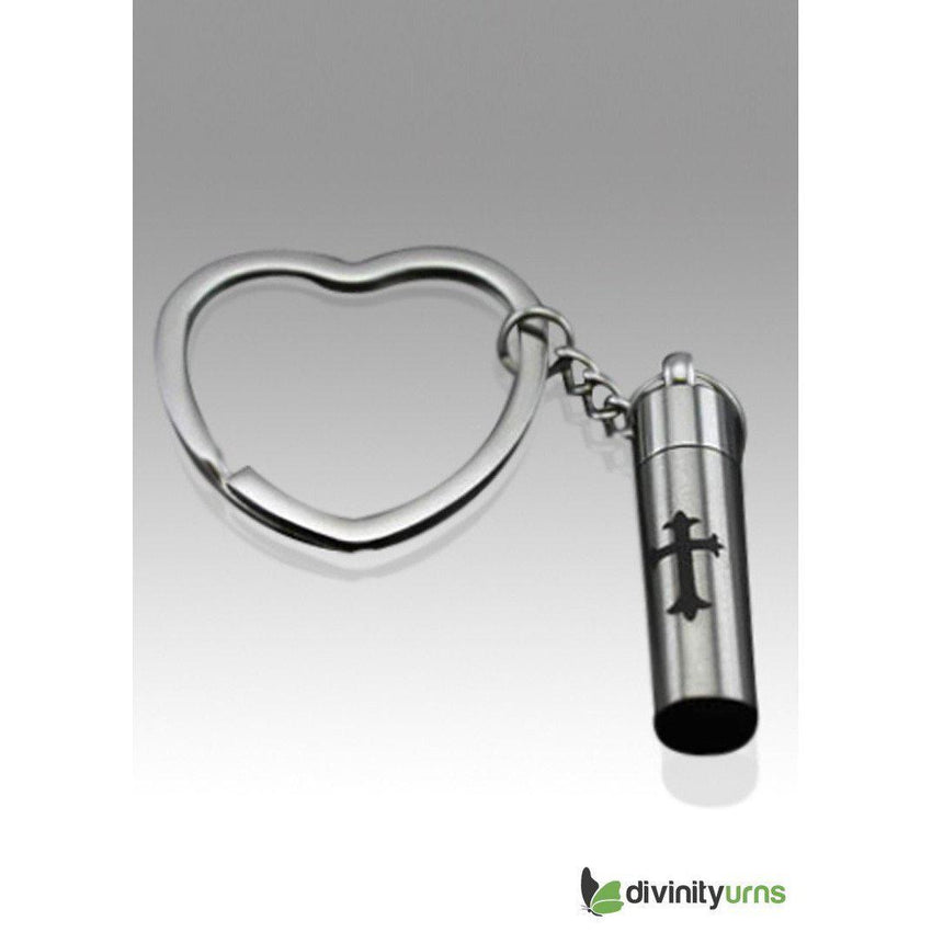 Cross on Cylinder Stainless Steel Keepsake Key Chain--Divinity Urns