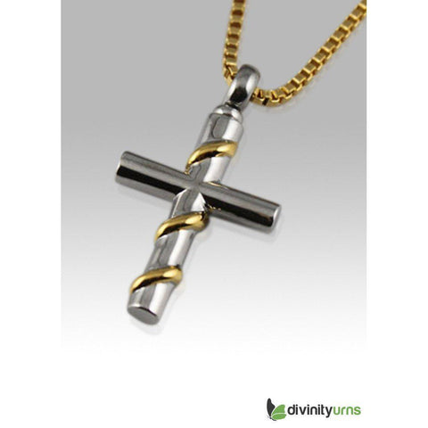 Cross with Gold Wire Wrapped Stainless Steel Cremation Keepsake Pendant, [product_type] - Divinity Urns