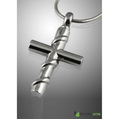Cross with Silver Wire Wrapped Cremation Keepsake Pendent, [product_type] - Divinity Urns