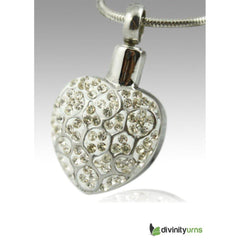 Crystal Heart Stainless Steel Cremation Keepsake Pendant, [product_type] - Divinity Urns