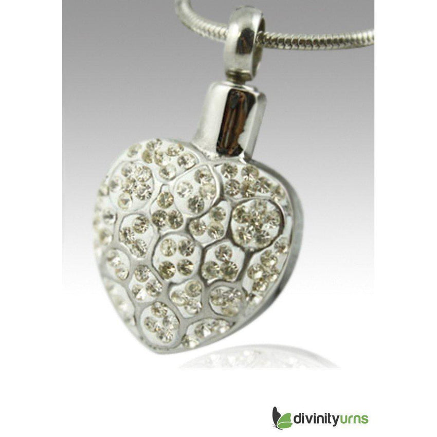 Crystal Heart Stainless Steel Cremation Keepsake Pendant--Divinity Urns