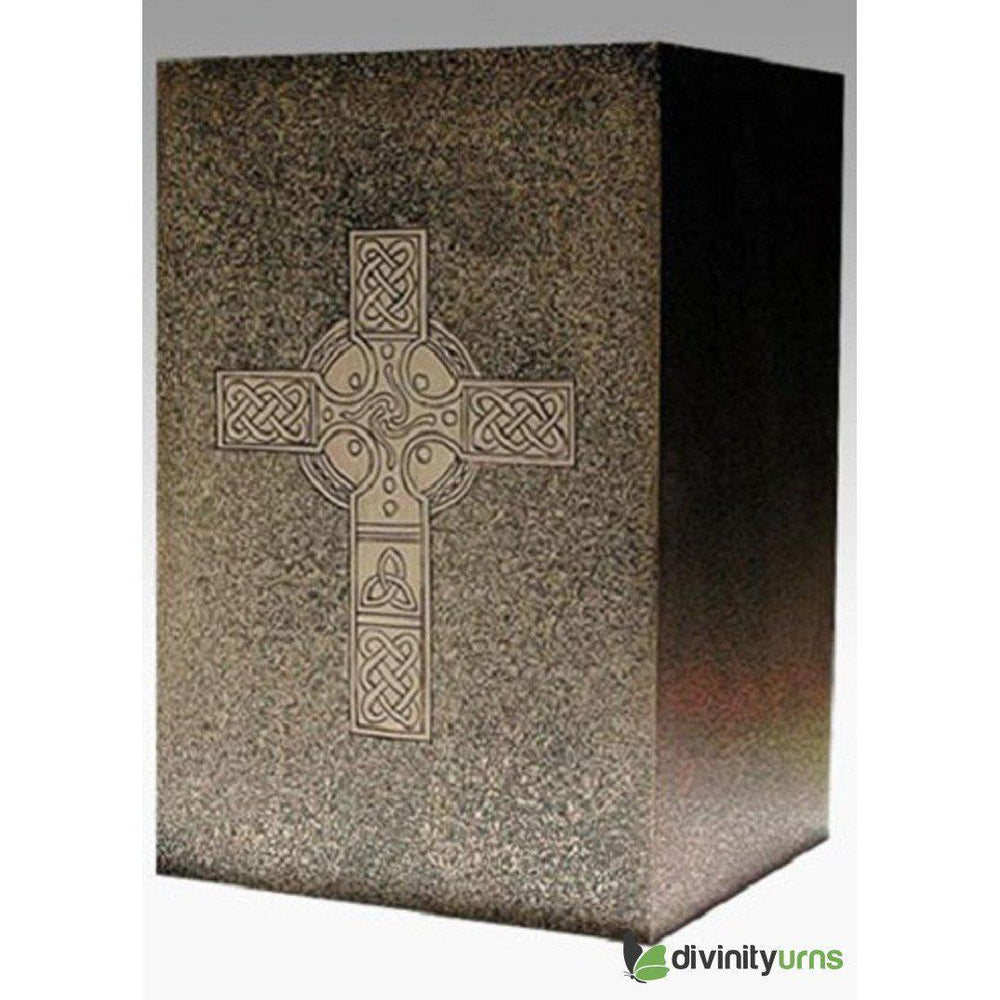 Cubical Bronze Celtic Religious Cremation Urn