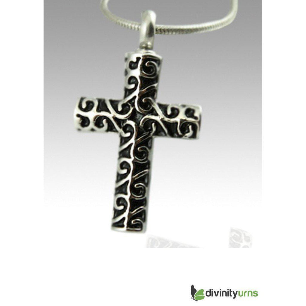 Curvy Cross Stainless Steel Cremation Keepsake Pendant,  - Divinity Urns.