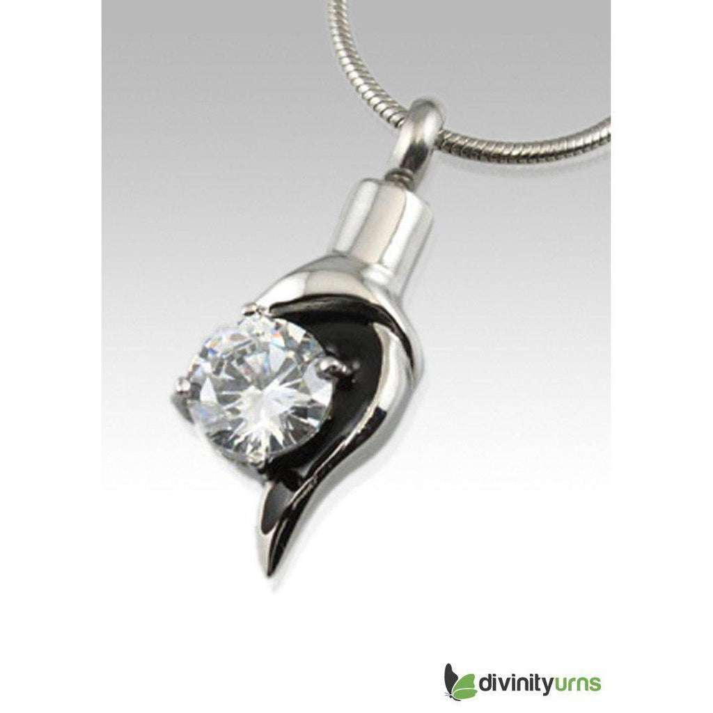 Diamond Accent Stainless Steel Cremation Keepsake Pendant, [product_type] - Divinity Urns
