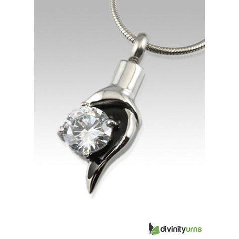 Diamond Accent Stainless Steel Cremation Keepsake Pendant,  - Divinity Urns.