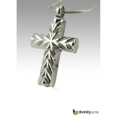 Elegant Cross Stainless Steel Cremation Keepsake Pendant,  - Divinity Urns.