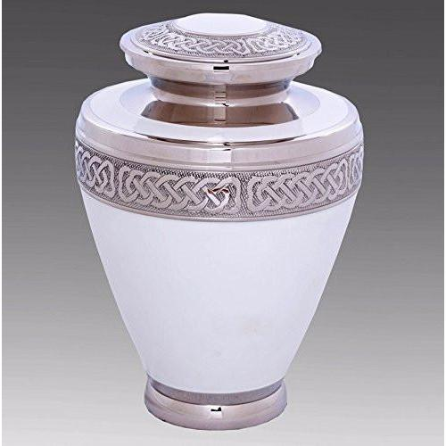 Elegant White & Silver Cremation Urn, Urns For Human Ashes - Divinity Urns