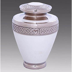 Elegant White & Silver Cremation Urn, Urn For Human Ashes - Divinity Urns.