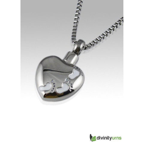 Foot Print Stainless Steel Cremation Keepsake Pendant, [product_type] - Divinity Urns