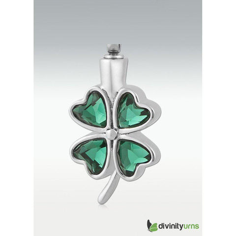 Green Glass Clover-Shamrock Pendant, [product_type] - Divinity Urns