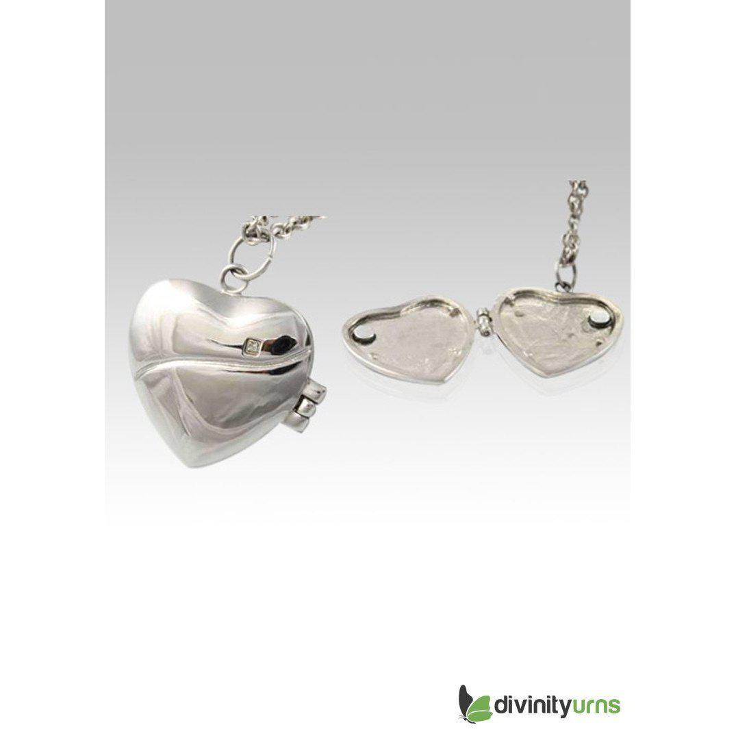 Heart Locket Stainless Steel Cremation Keepsake Pendant, [product_type] - Divinity Urns