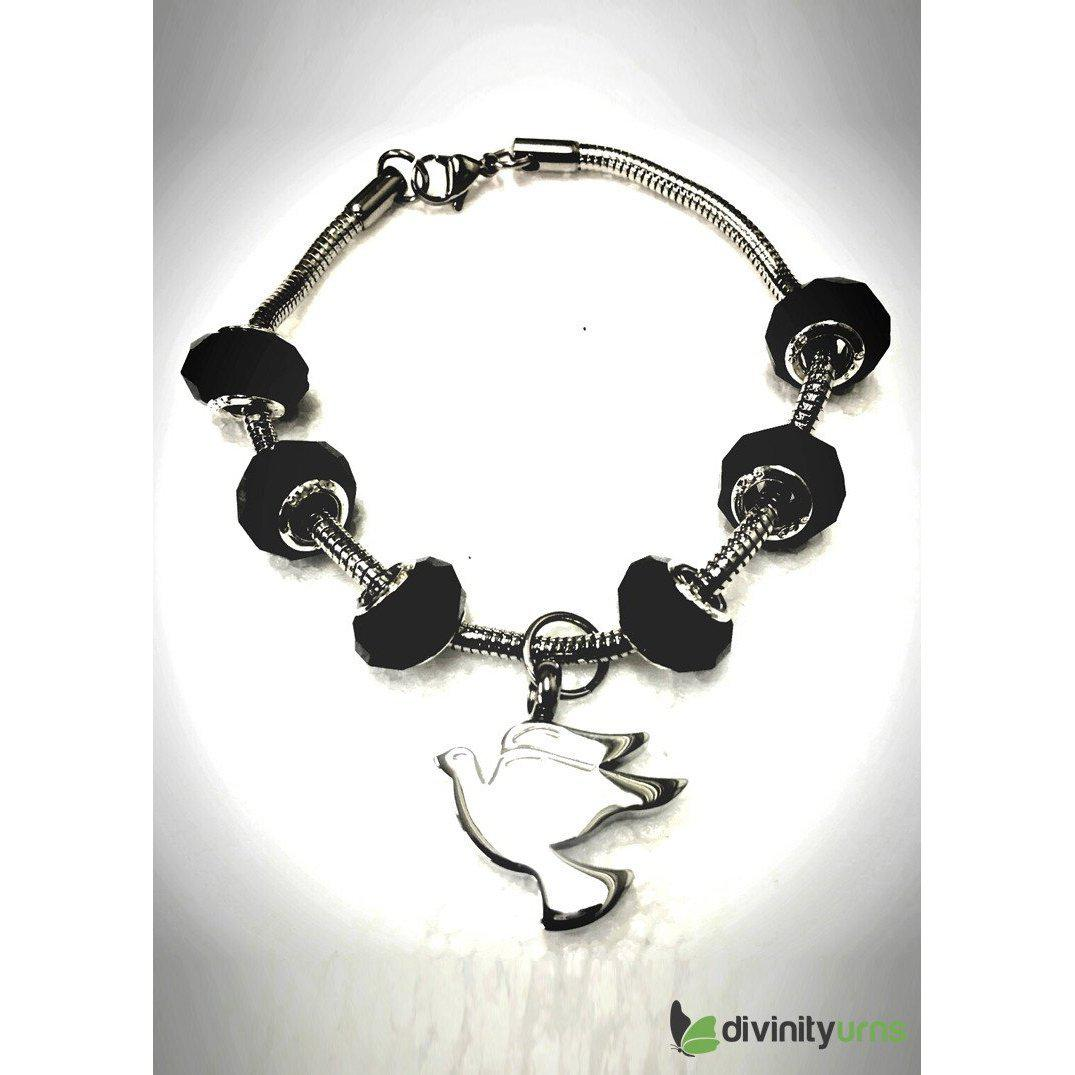 """Midnight Black"" murano bead cremation Bracelet, [product_type] - Divinity Urns"