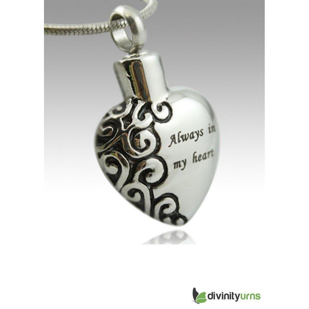 My Heart Stainless Steel Keepsake Cremation Pendant, [product_type] - Divinity Urns