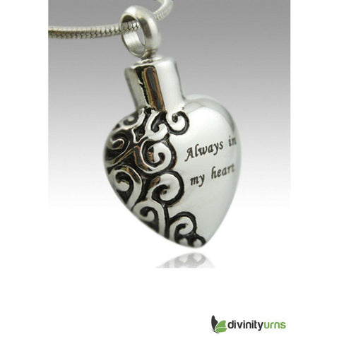 My Heart Stainless Steel Keepsake Cremation Pendant, Jewelry - Divinity Urns.