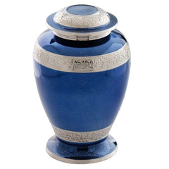 Palatinate Blue and Silver Brass Cremation Urn, Adult Urn - Divinity Urns.