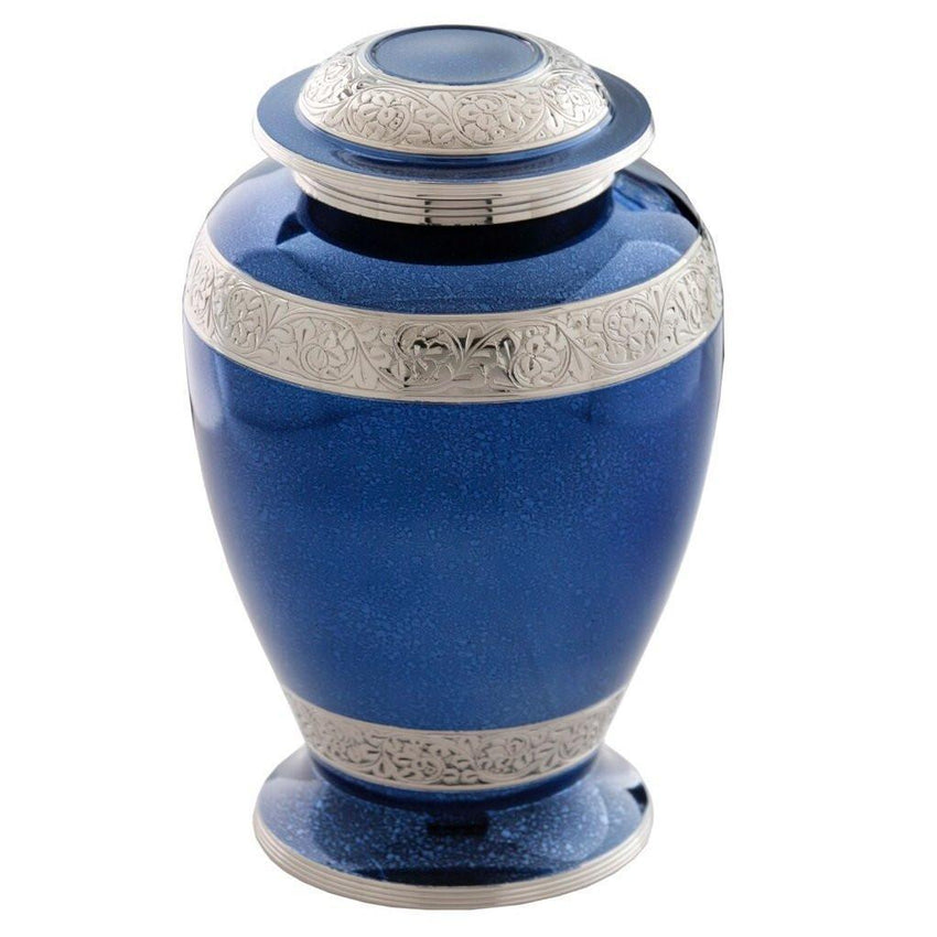 Palatinate Blue and Silver Brass Cremation Urn-Adult Urn-Divinity Urns