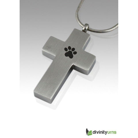 Paw Cross Cremation Keepsake Pendant, [product_type] - Divinity Urns