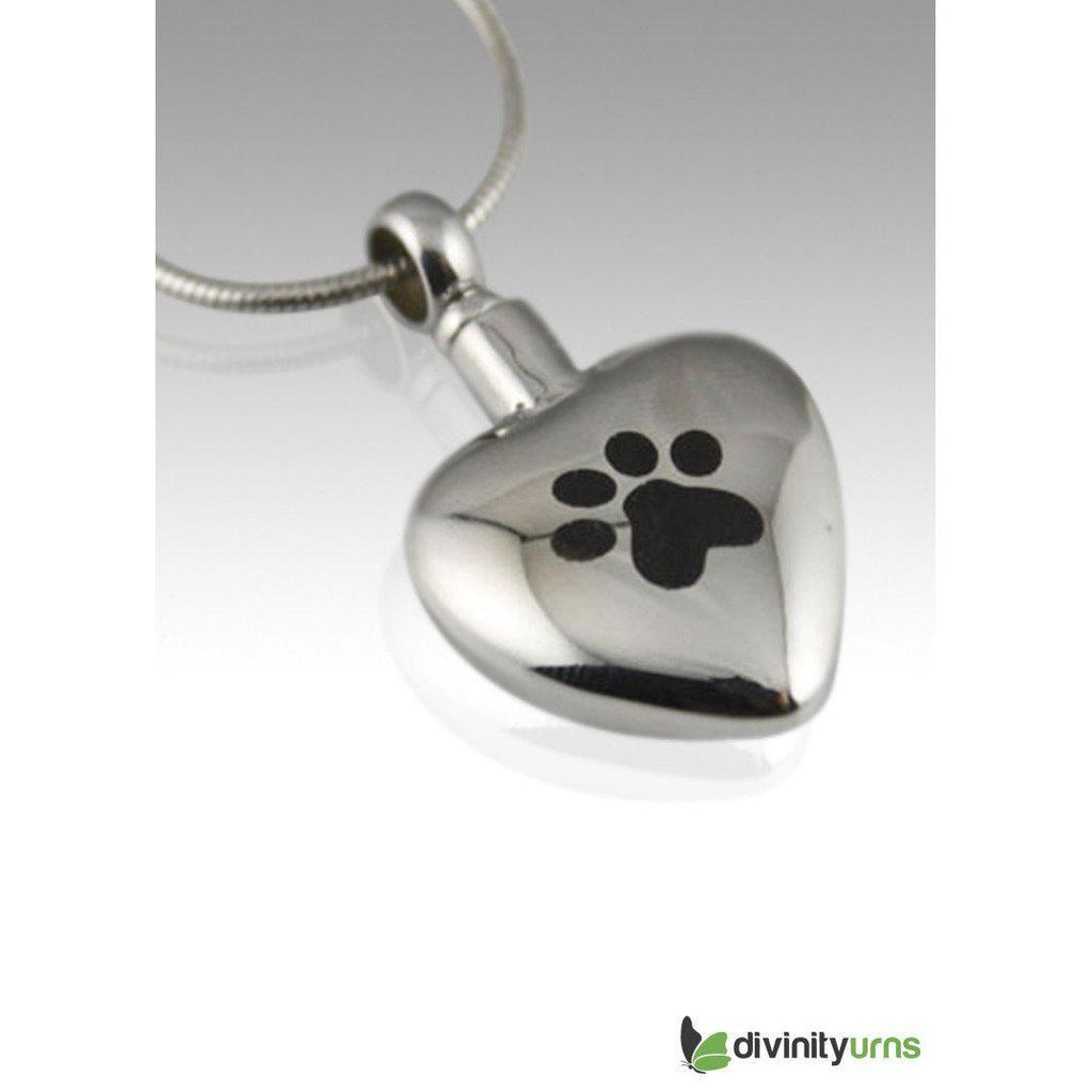 Paw Heart Pet Cremation Pendant,  - Divinity Urns.