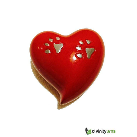 Paw Pet Keepsake Cremation Urn - Red,  - Divinity Urns