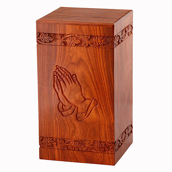 Solid Rosewood Cremation Urn with Hand Carved Praying Hand, Adult Urn - Divinity Urns.