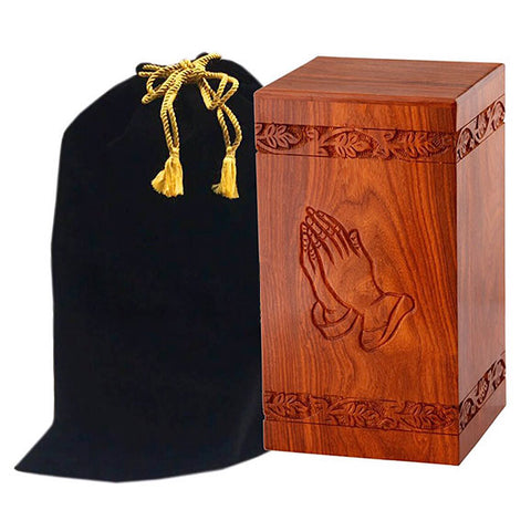 Solid Rosewood Cremation Urn with Hand Carved Praying Hand, Adult Urn - Divinity Urns