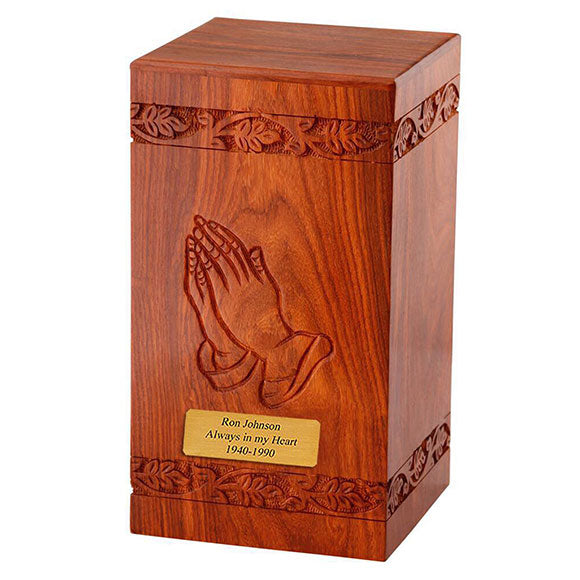 Solid Rosewood Cremation Urn with Hand Carved Praying Hand
