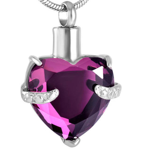 Hold My Heart Amethyst Cremation Pendant, Jewelry - Divinity Urns.