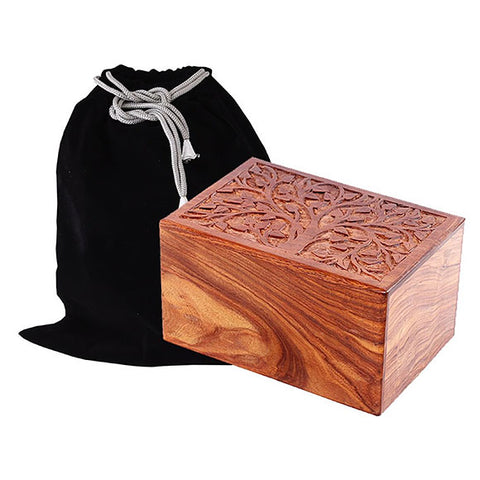 Solid Rosewood Cremation Urn - Real Tree Design, Adult Urn - Divinity Urns