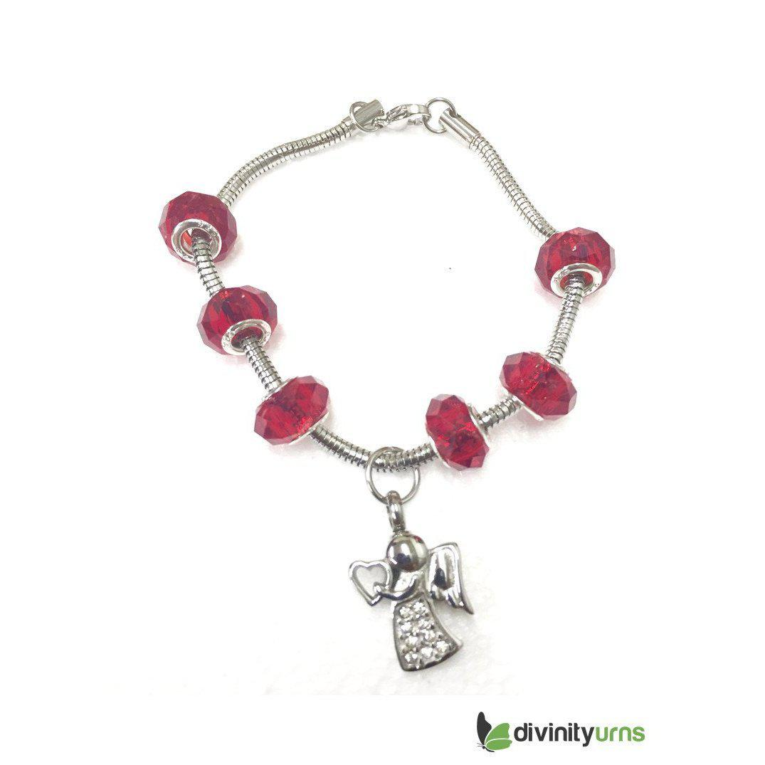 """Ruby Red"" murano bead cremation Bracelet, [product_type] - Divinity Urns"