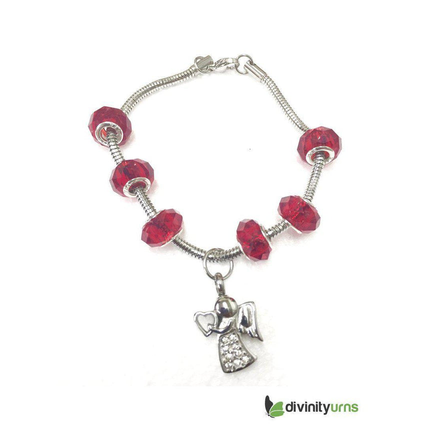"""Ruby Red"" murano bead cremation Bracelet-Divinity Urns"
