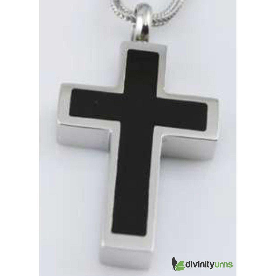Silver Black Cross Jewelry, [product_type] - Divinity Urns