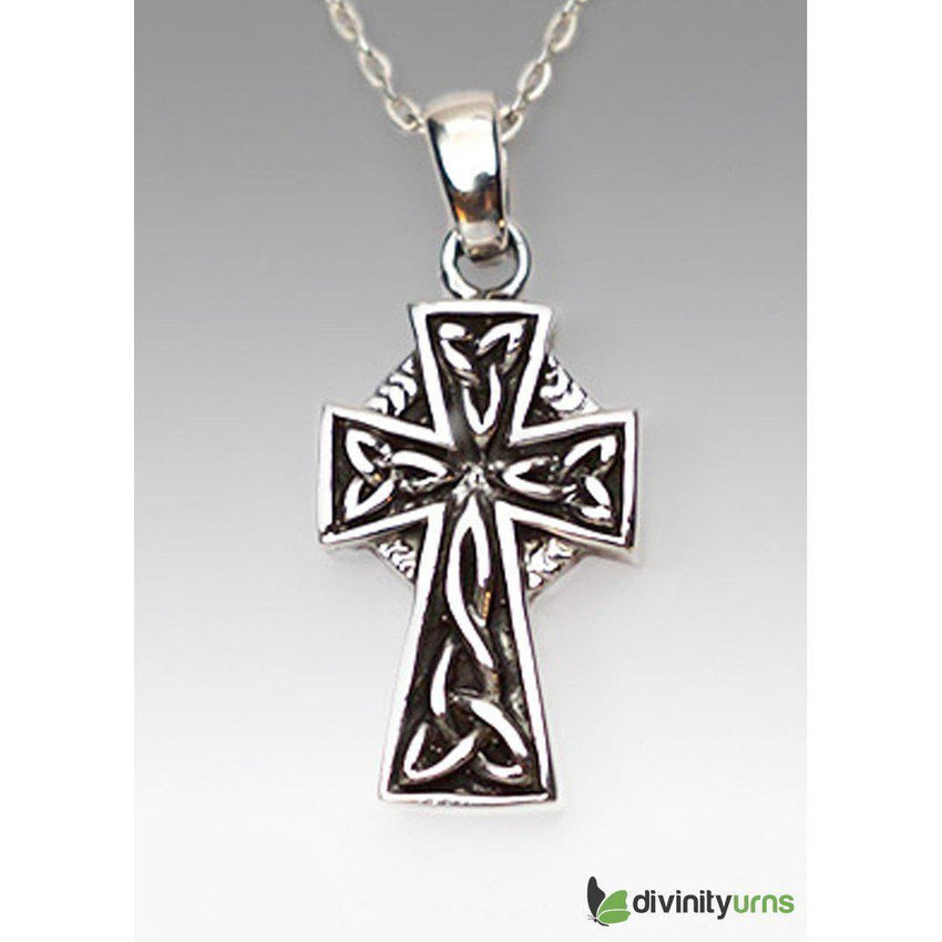 Silver Curvy Cross Jewelry-Divinity Urns