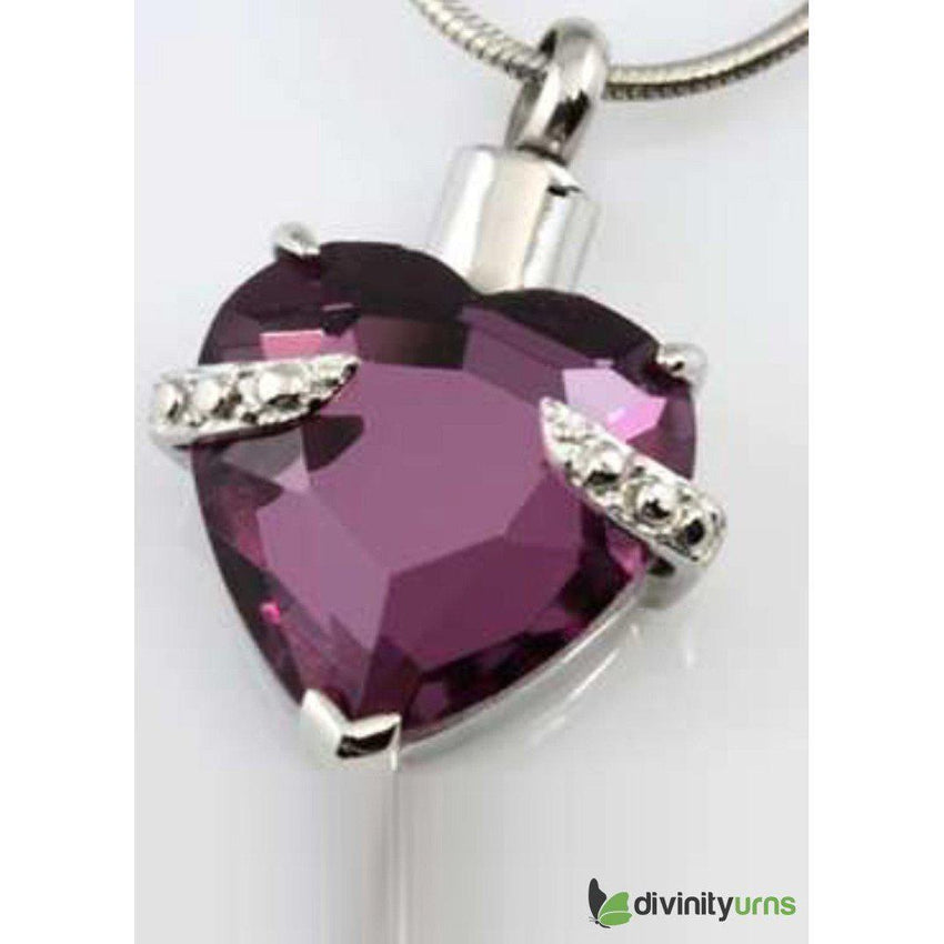Silver Hold My Heart Amethyst Jewelry-Divinity Urns