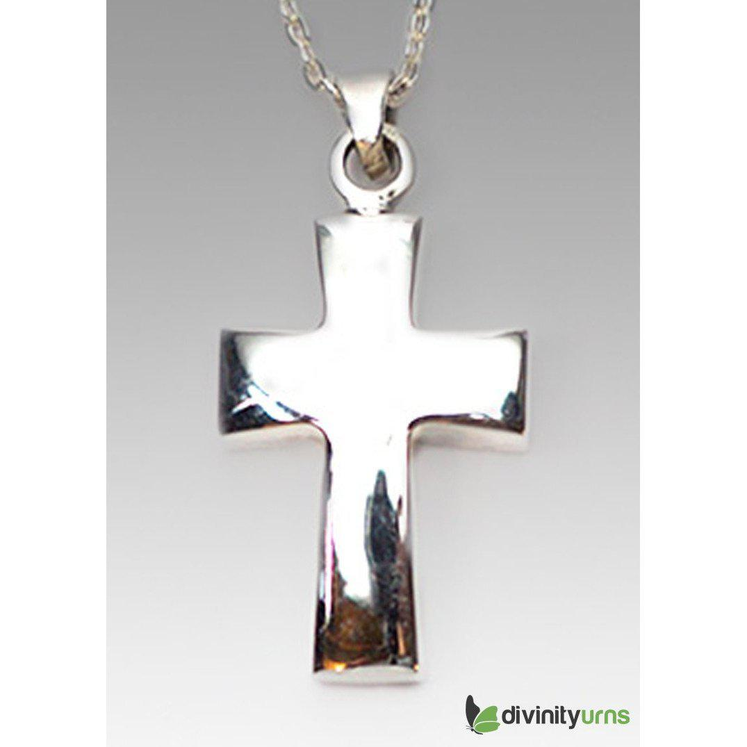 Silver Polished Cross Jewelry, [product_type] - Divinity Urns